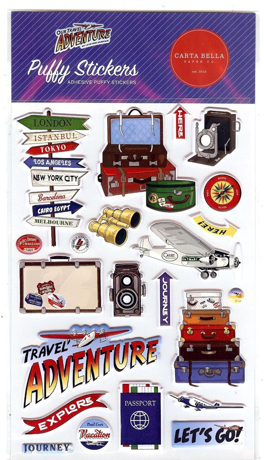 Carta Bella - Our Travel Adventure Puffy Stickers