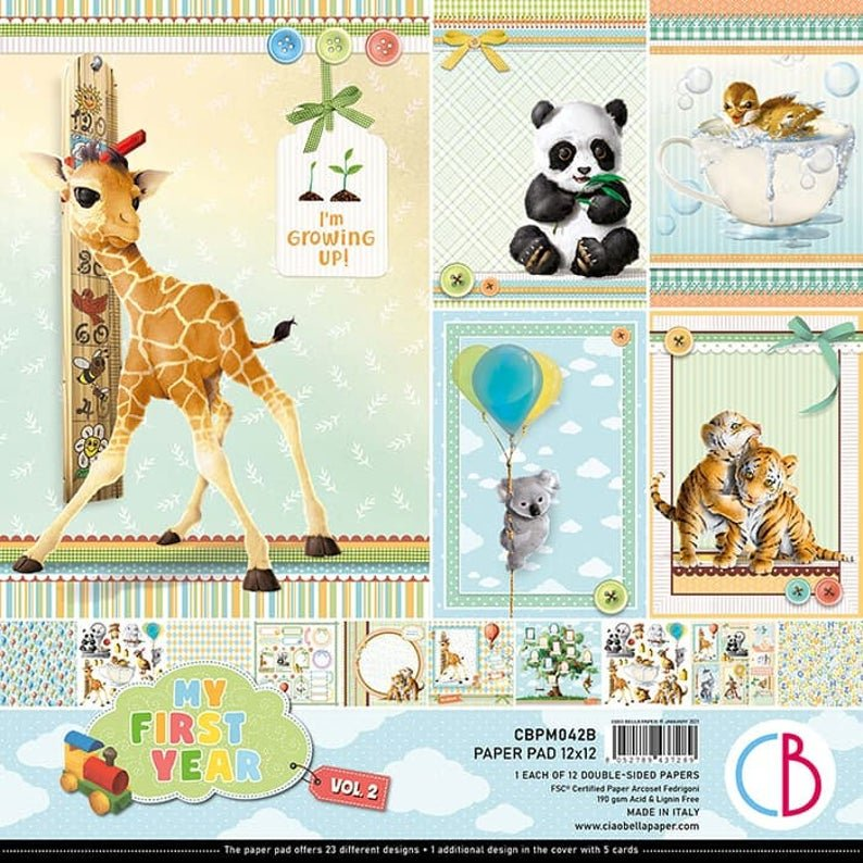 Ciao Bella Double-Sided Paper Pack - My First Year Vol. 2, 12x12