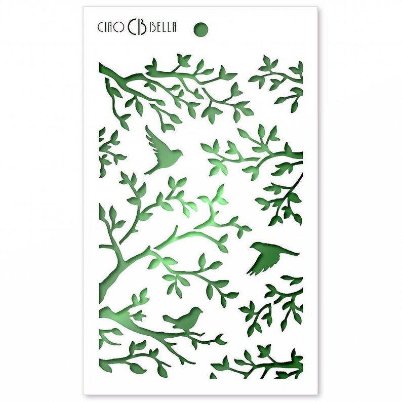 Ciao Bella Stencil Art Texture Stencil - Three Birds, 5x8
