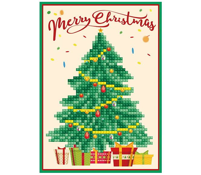 Diamond Dotz Diamond Embroidery Facet Art Greeting Card Kit - Merry Christmas Tree
