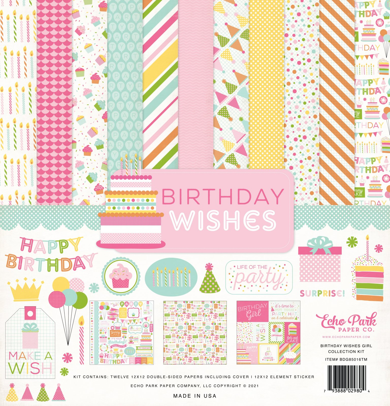 Echo Park Collection Kit 12x12 - Birthday Wishes Girl
