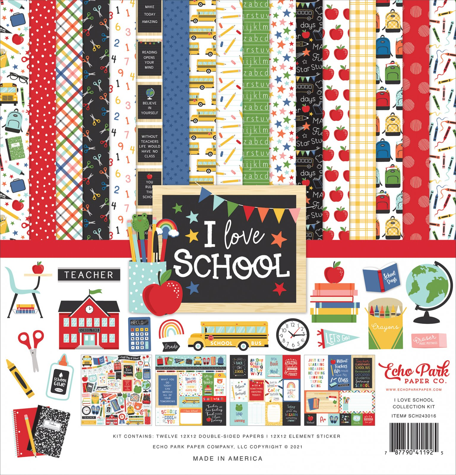 Echo Park Collection Kit 12x12 - I Love School