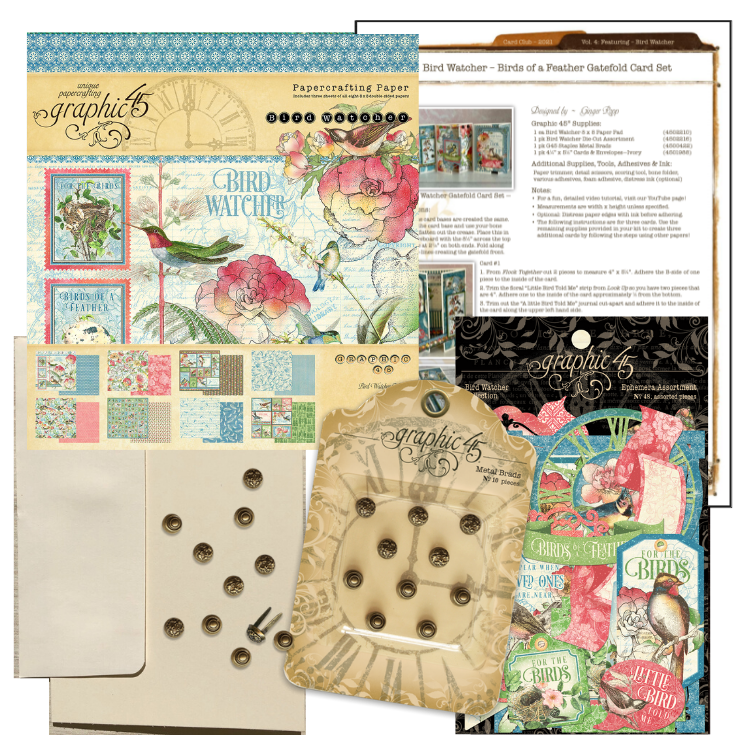 Graphic 45 - Bird Watcher, Birds of a Feather Gatefold Card Set