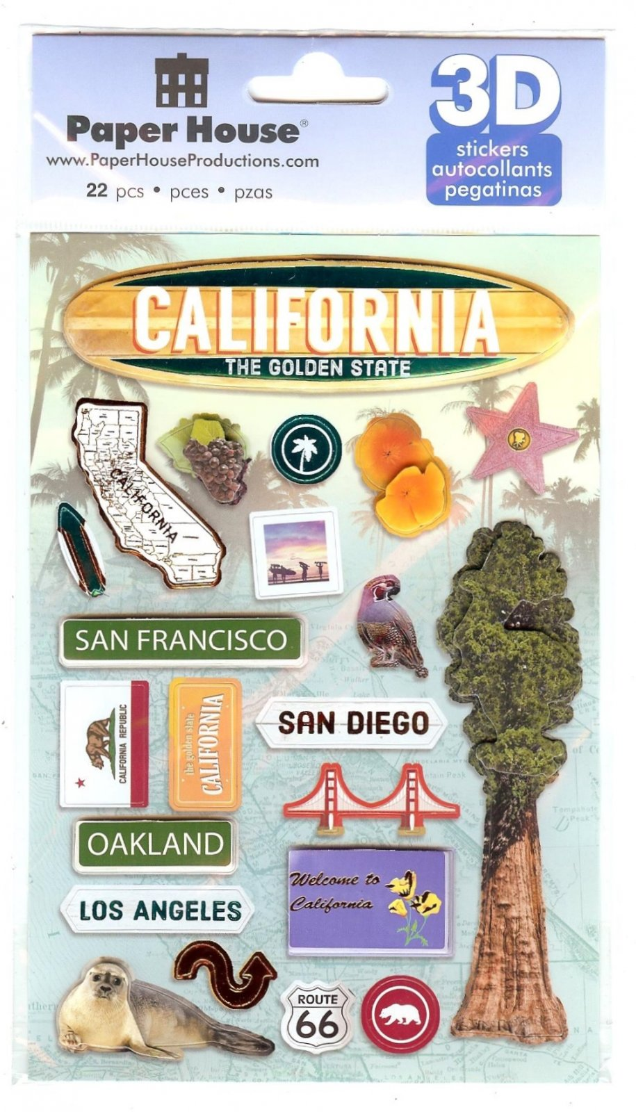 California - Paper House 3D Stickers