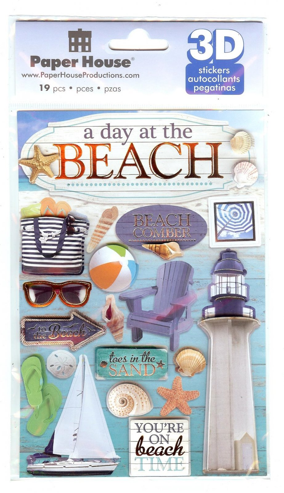 Paper House Travel 3D Stickers - A Day at the Beach