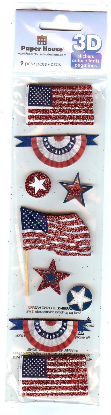 Paper House 3D Stickers - American Flags