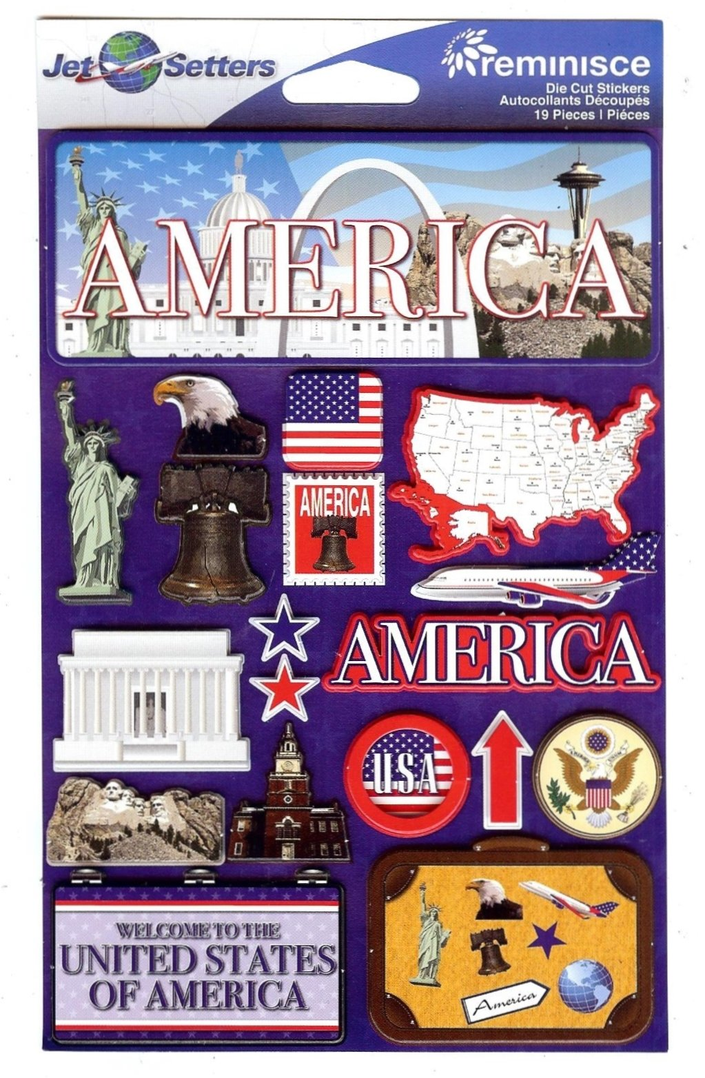 .America - Reminisce Jet Setters State Dimensional Stickers