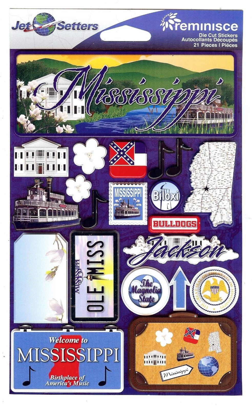 Mississippi - Reminisce Jet Setters State Dimensional Stickers