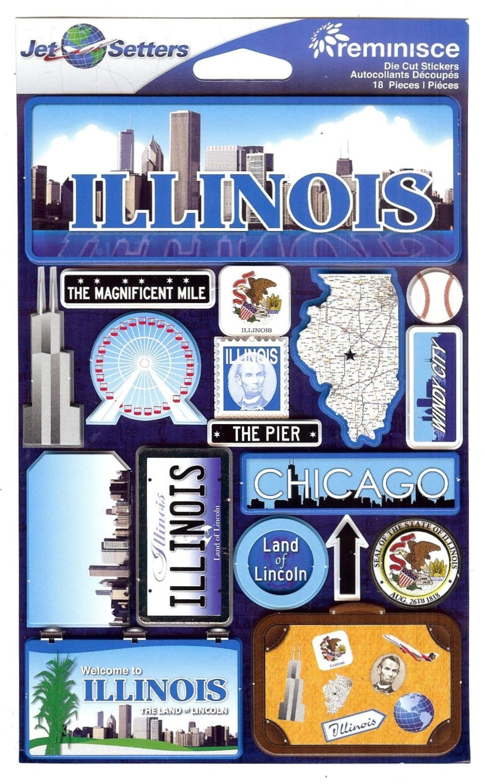 Illinois - Reminisce Jet Setters State Dimensional Stickers