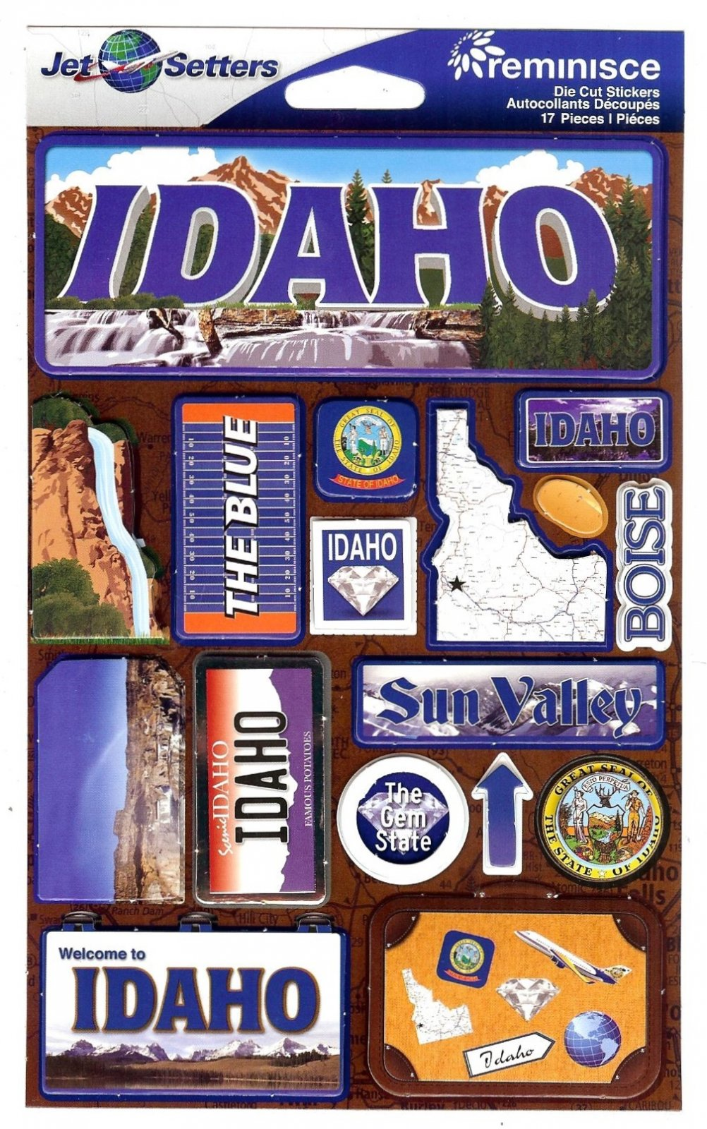 Idaho - Reminisce Jet Setters State Dimensional Stickers