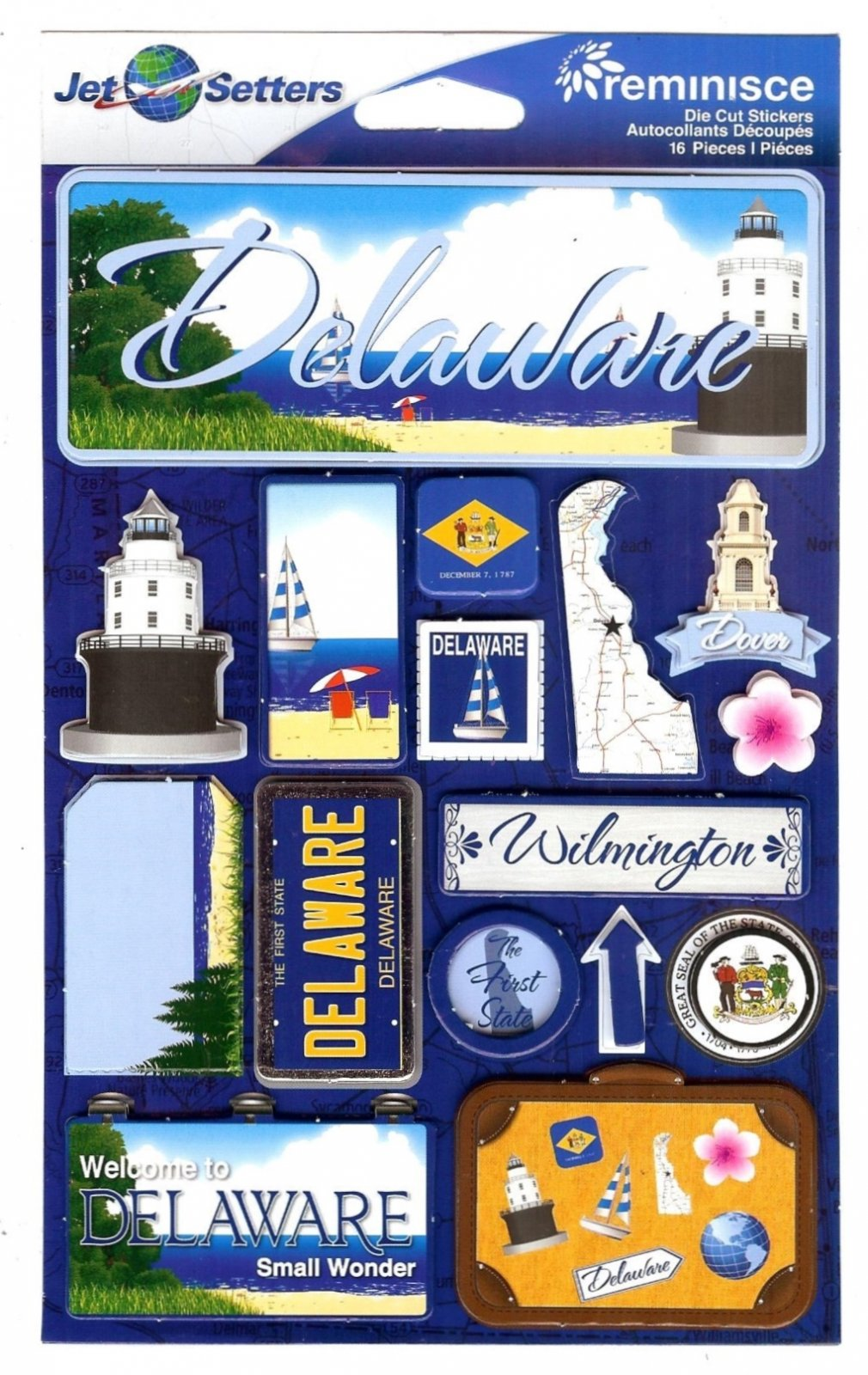 Delaware - Reminisce Jet Setters State Dimensional Stickers