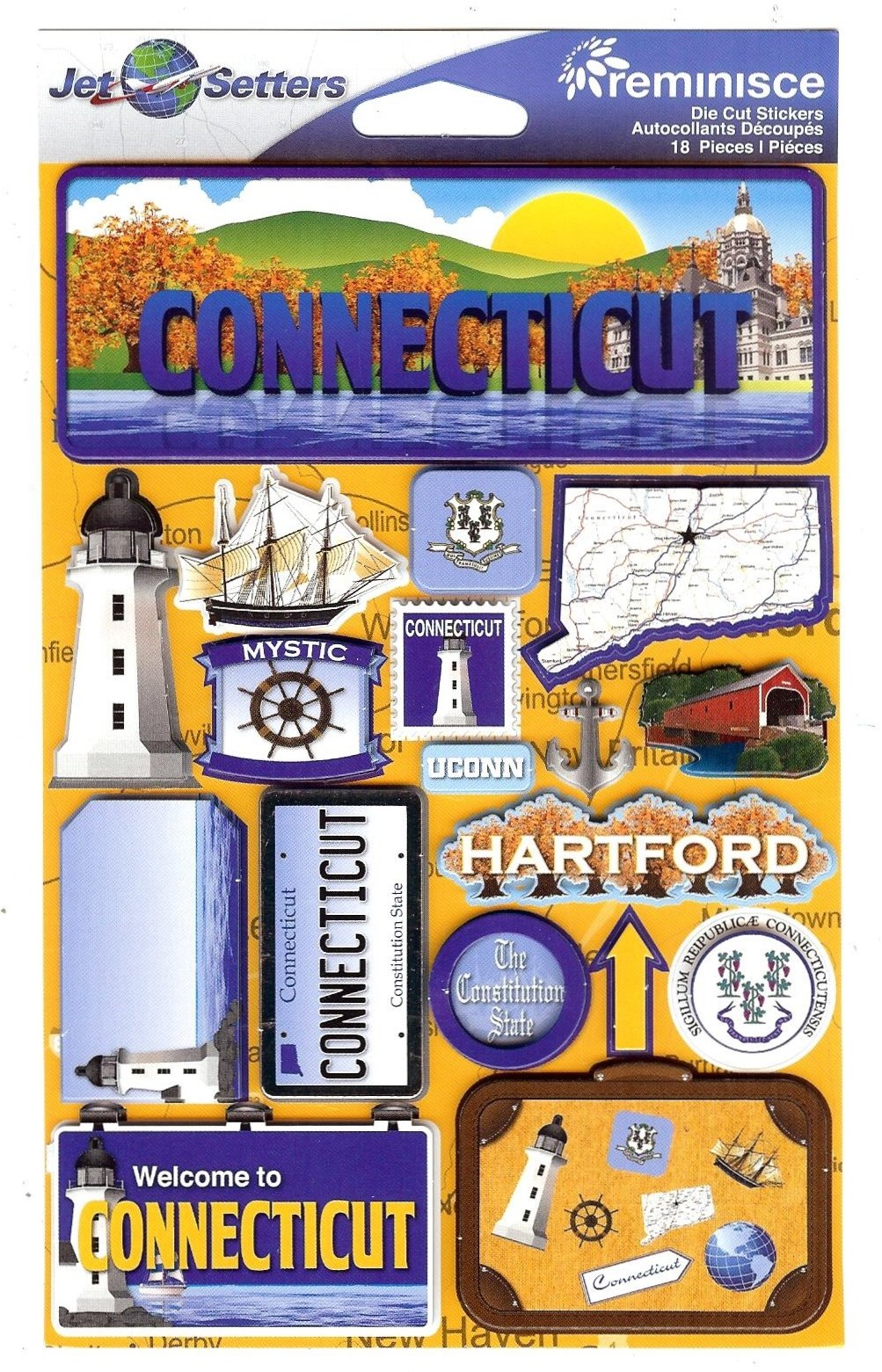 Connecticut - Reminisce Jet Setters State Dimensional Stickers
