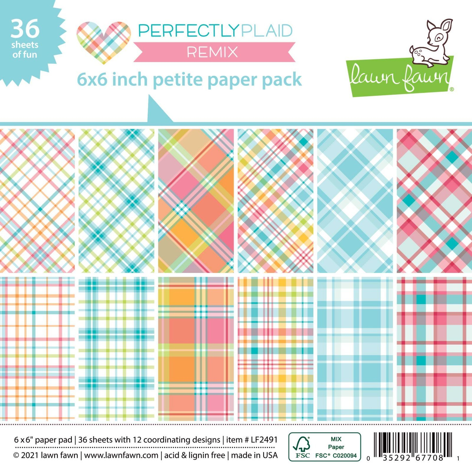 Lawn Fawn - Perfectly Plaid, 6x6 Petite Paper Pack