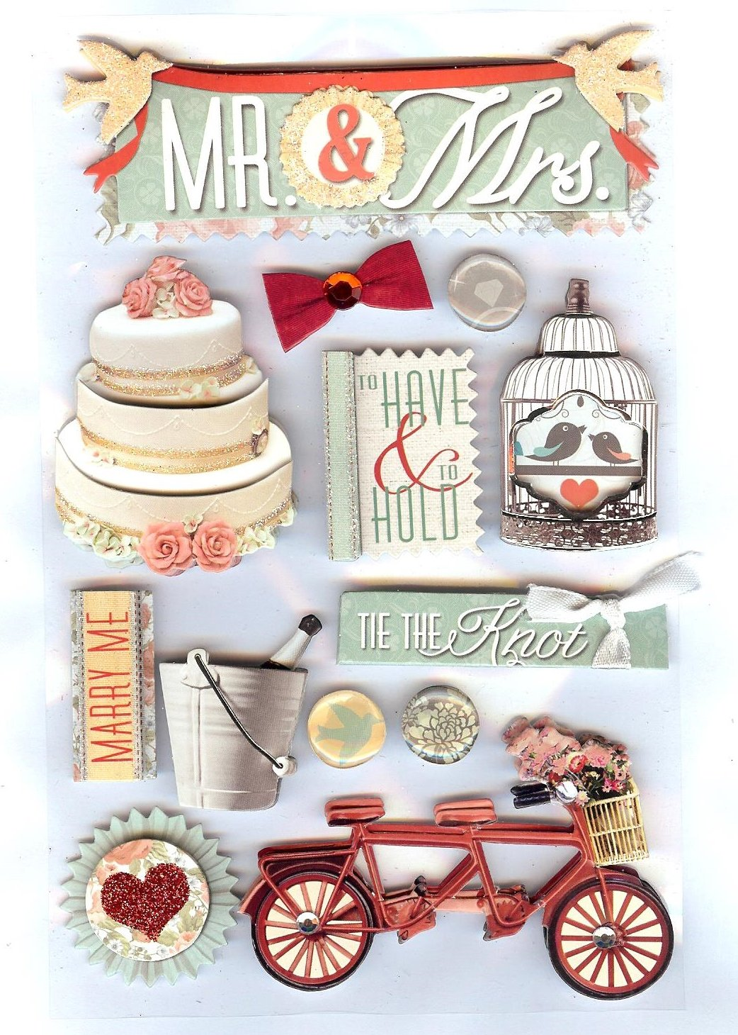 Paper House 3D Stickers - Mr & Mrs