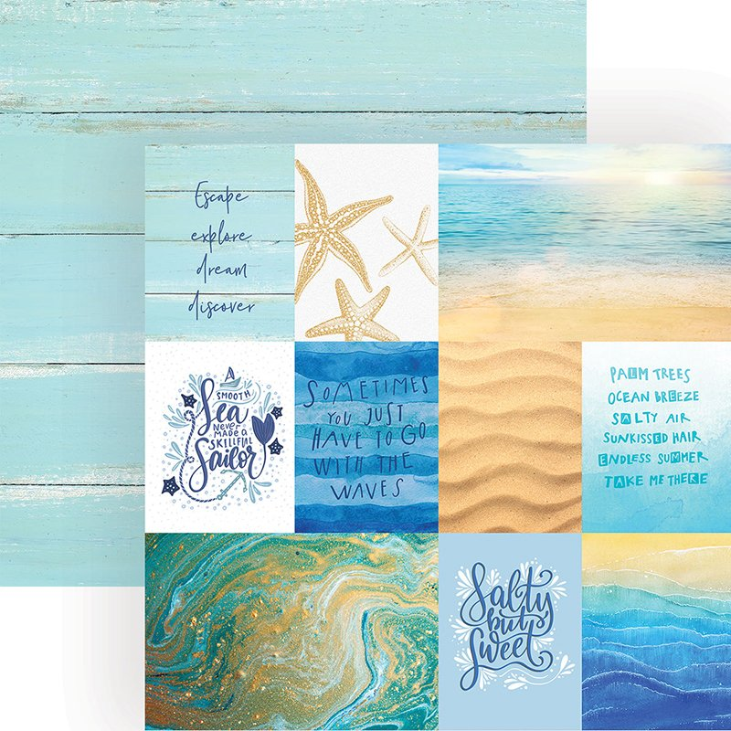 Paper House - Coastal Waves Tags Double-Sided Cardstock, 12 x 12