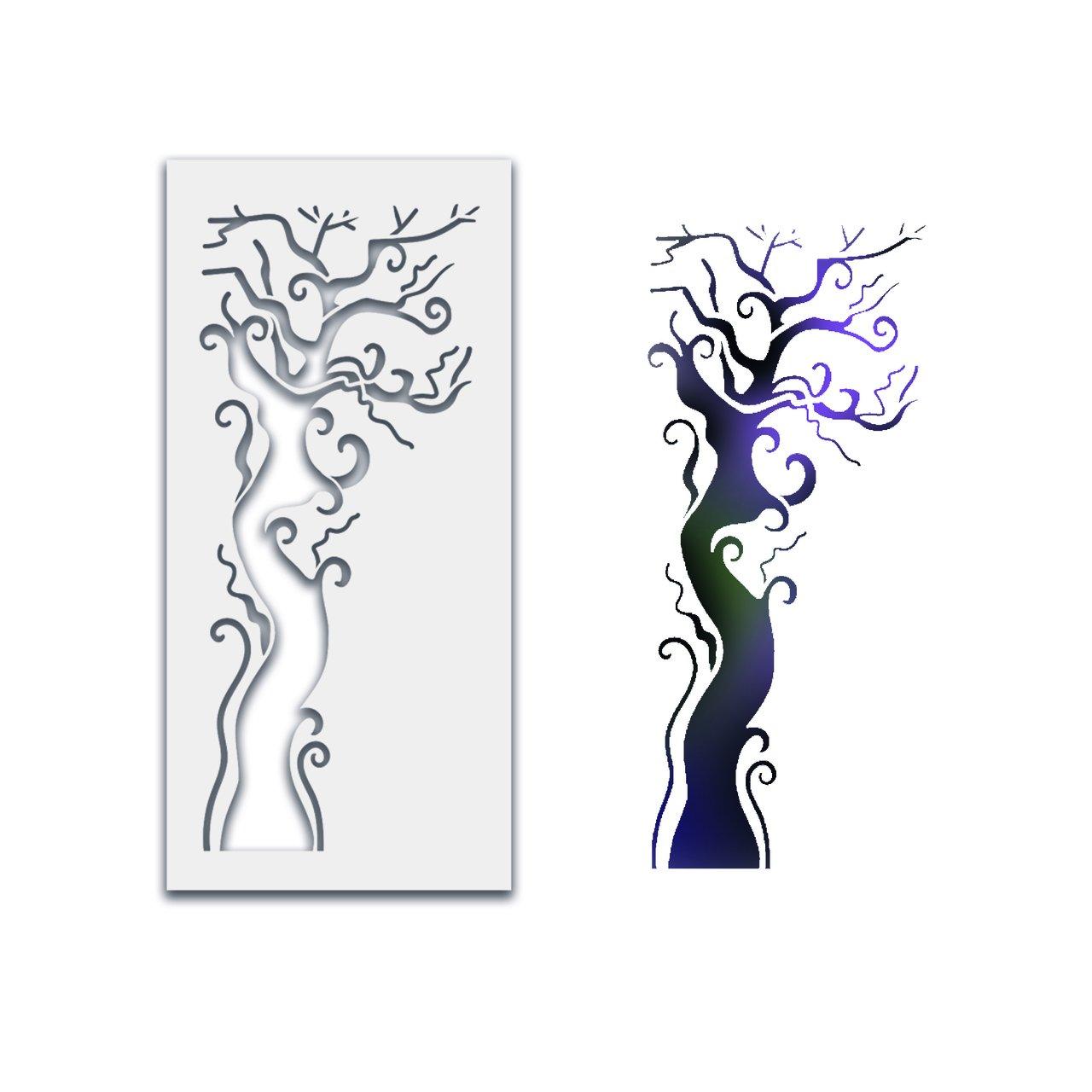 Polkadoodles Stencil - Creepy Tree