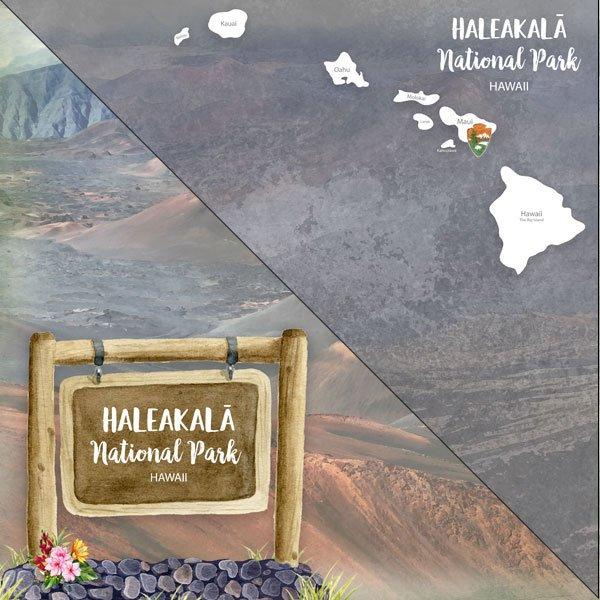 Haleakala National Park Watercolor 12x12 Double-Sided Paper, Scrapbook Customs