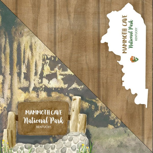 Mammoth Cave National Park Watercolor 12x12 Double-Sided Paper, Scrapbook Customs