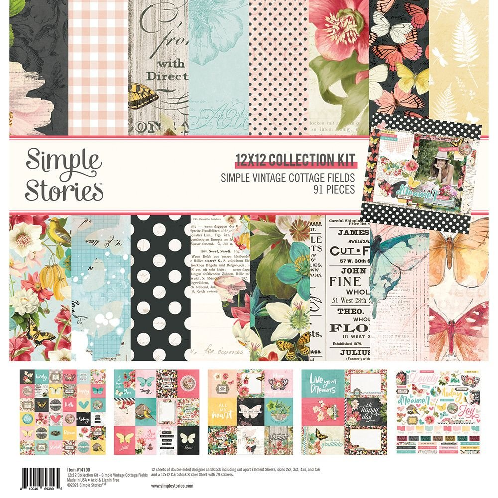 Simple Stories Simple Vintage Cottage Fields Collection Kit, 12x12