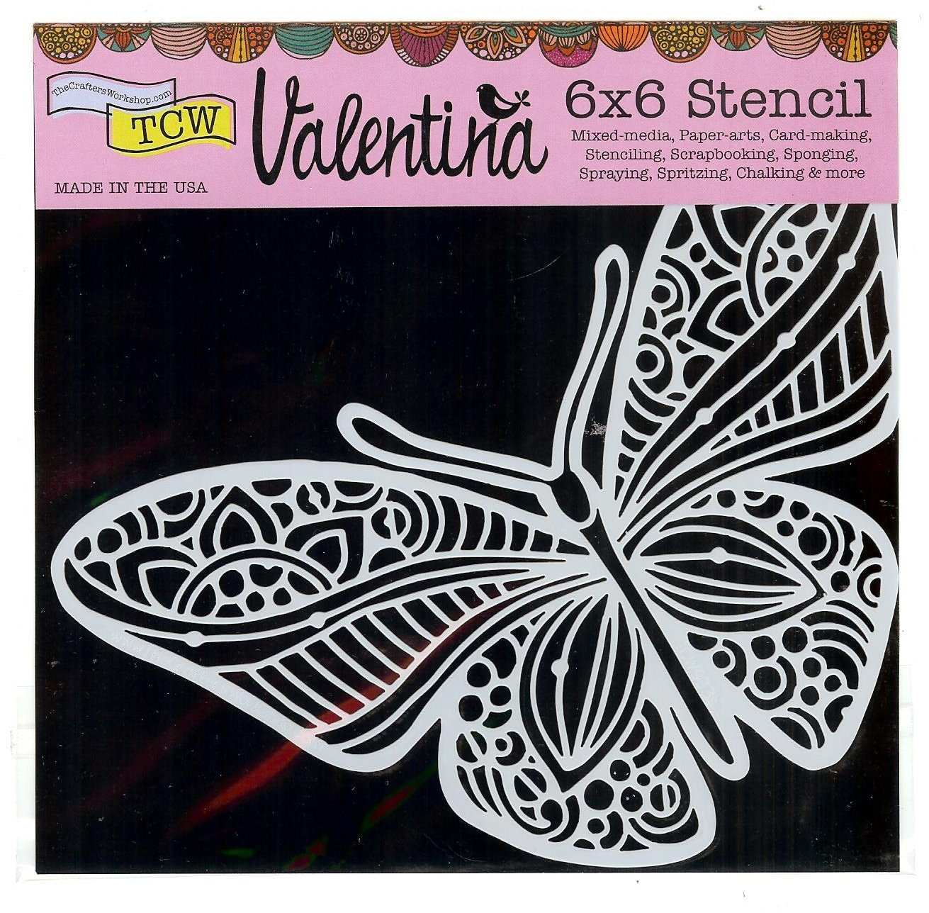 TCW The Crafters Workshop Stencil 6 x 6 Joyous Butterfly