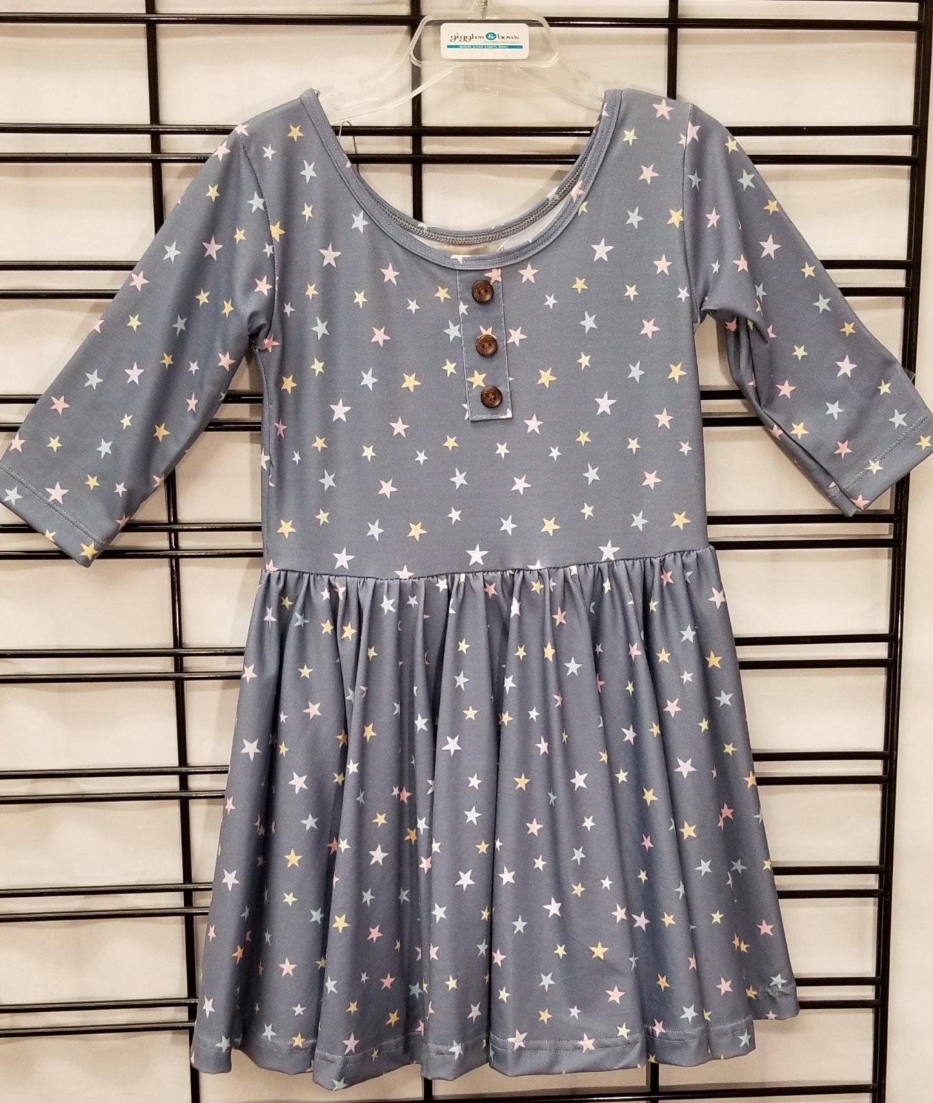 BE GIRL CLOTHING - 3/4 sleeve blue star dress