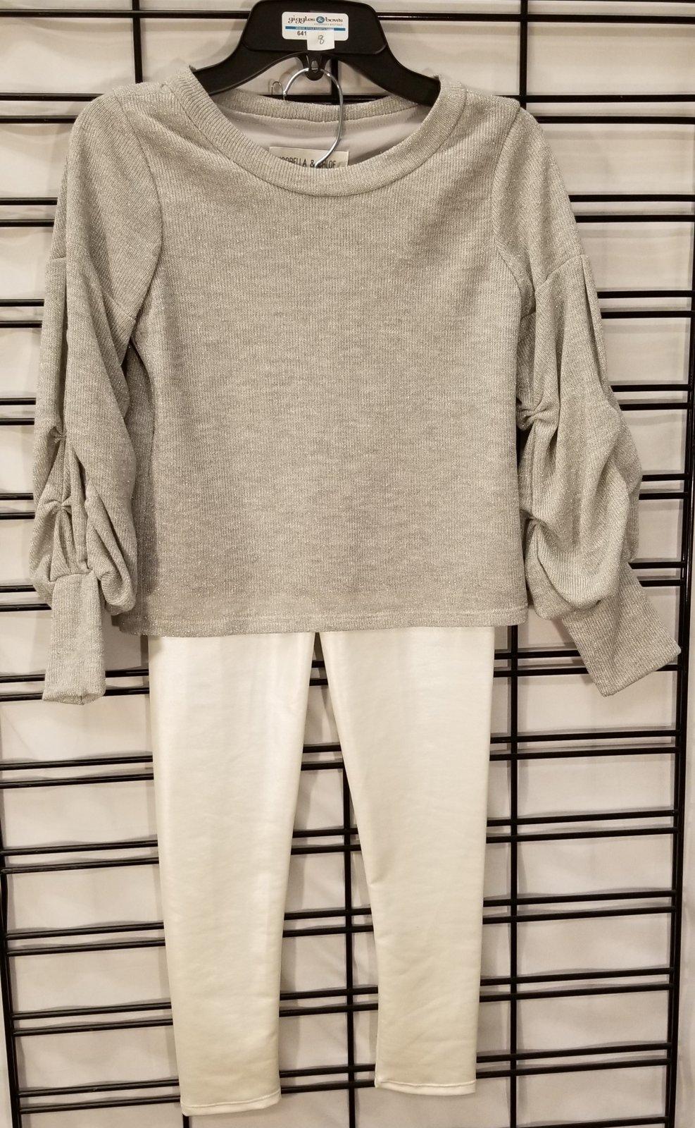 ISOBELLA & CHLOE - Silver Sparkle top/pants set