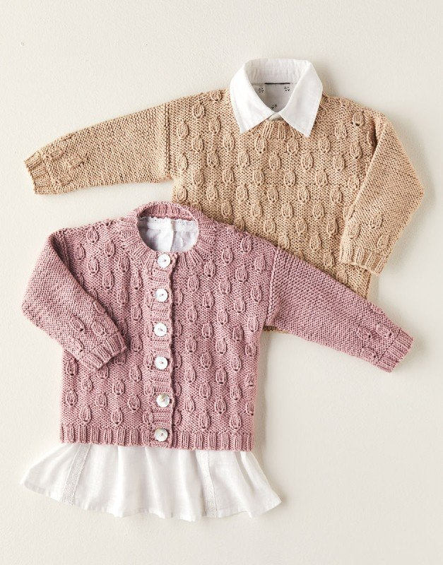 Loaf Stitch Cardigan & Sweater in Snuggly 100%Cotton, Design # 5379 by Sirdar