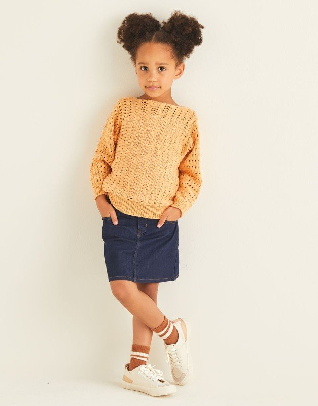 Kids Lacey Batwing Sweater in Snuggly Replay DK , Design #2548 by Sirdar