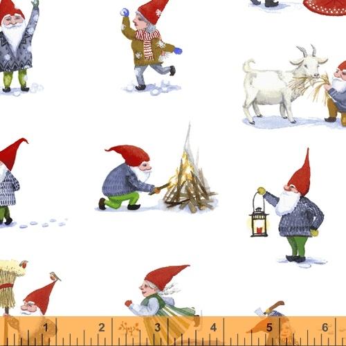 Winter Gnomes by Striped Pear Studios - Gnomes decorating tree