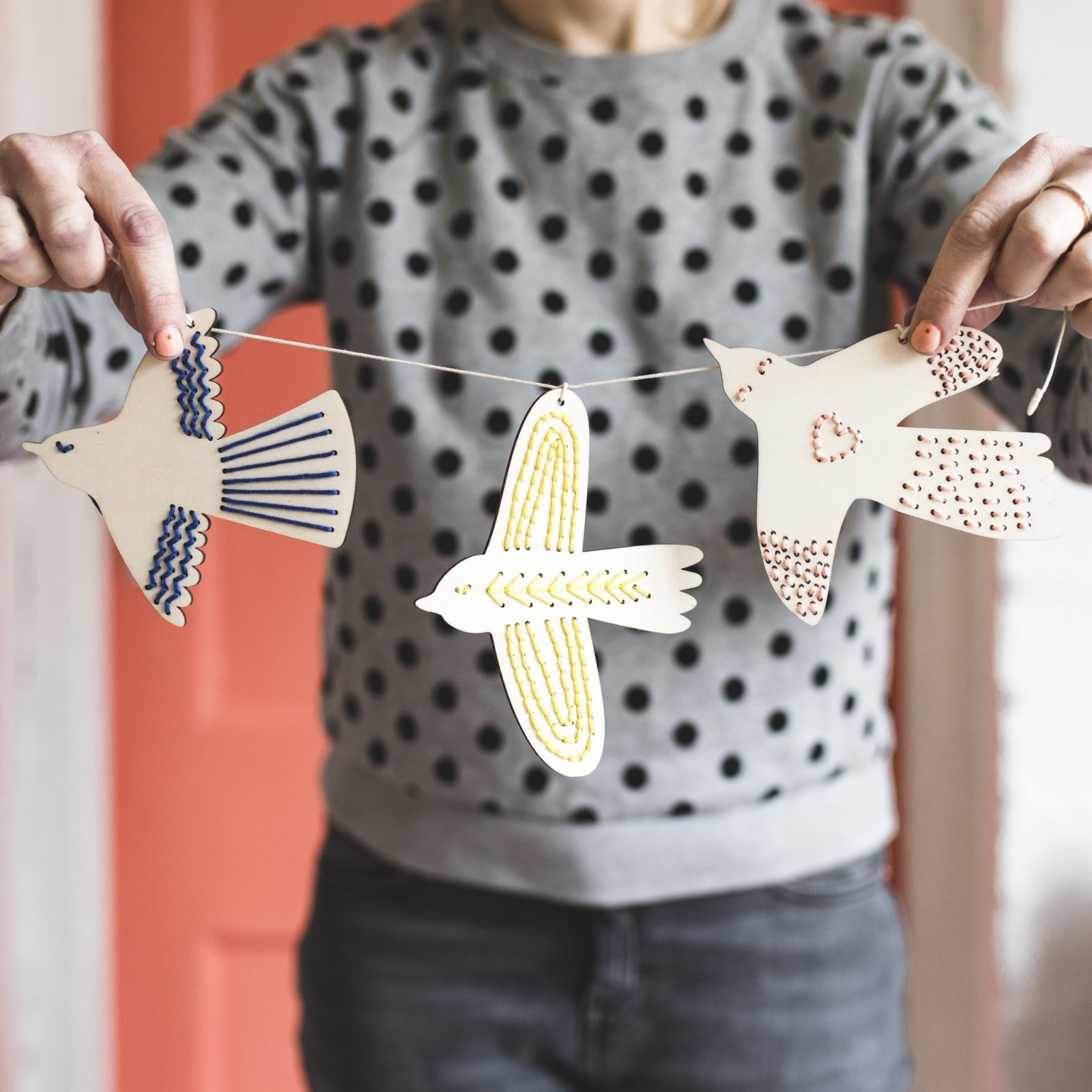 Wooden Birds Embroidery Kit by Cotton Clara