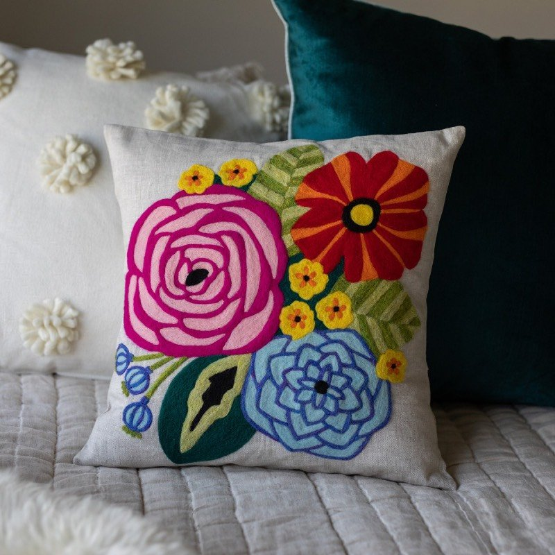 Happy Flowers Needle Felted Pillow Cover Kit