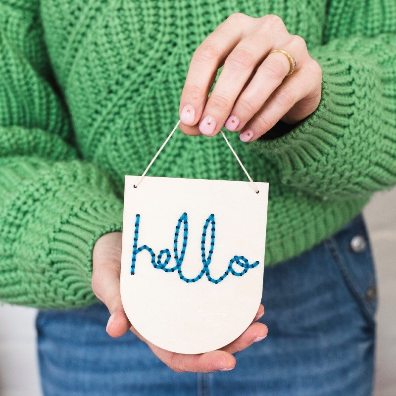 Wooden Hello Banner Embroidery Kit (blue) by Cotton Clara