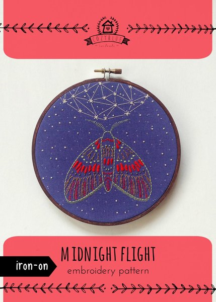 midnight flight - Iron-on Embroidery Patterns by Cozyblue