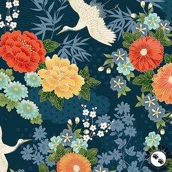 Michiko Large Floral Blue by Makower UK TP-2330-B
