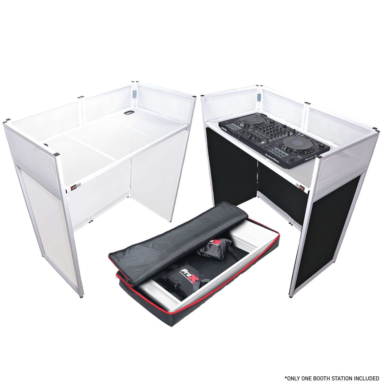 ProX XF-VISTA WH VISTA White DJ Booth Facade Table Station with White/Black Scrim Kit and Padded Travel Bag