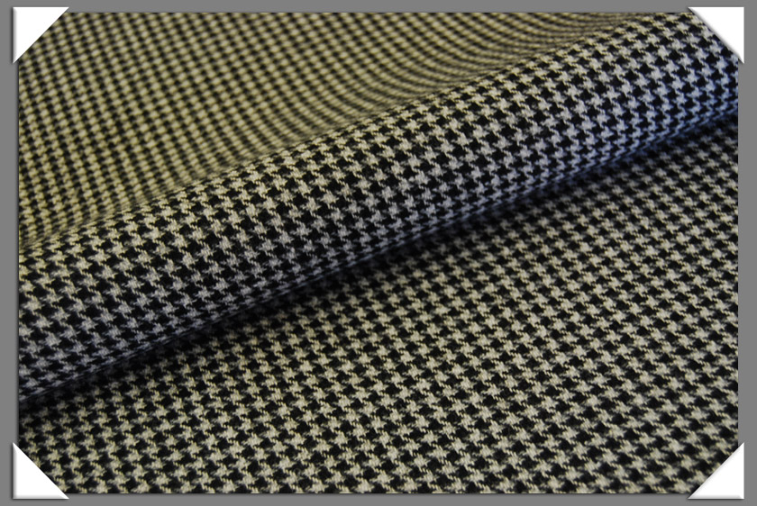 100% Wool light Gray and Black Houndstooth Check
