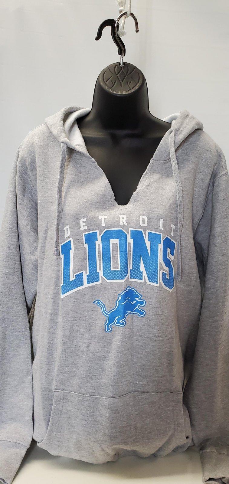 Detroit Lions Lt Gray Cutout Neck Hoodie