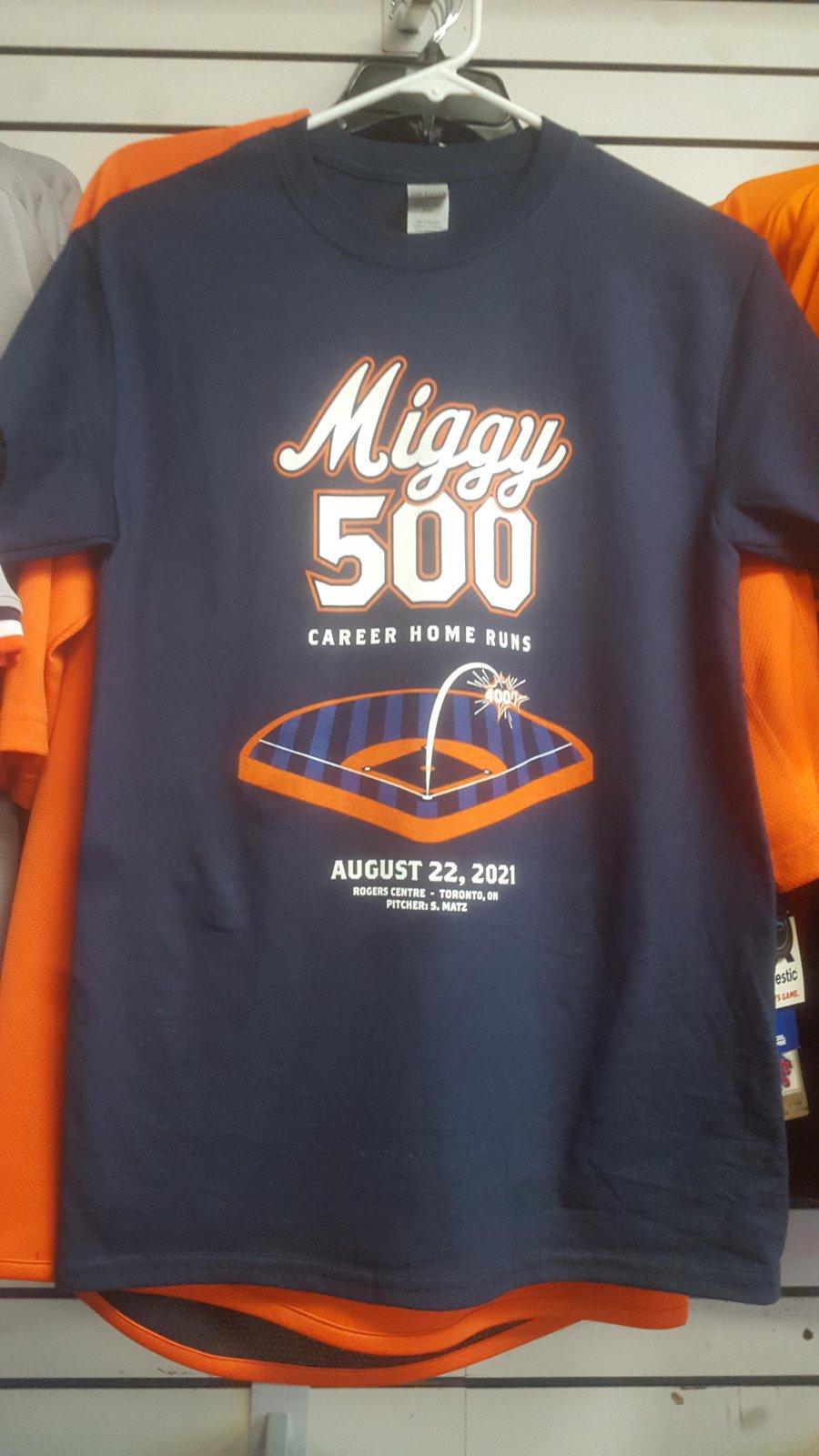 Detroit Tigers Miggy 500 Home Runs Navy Tee