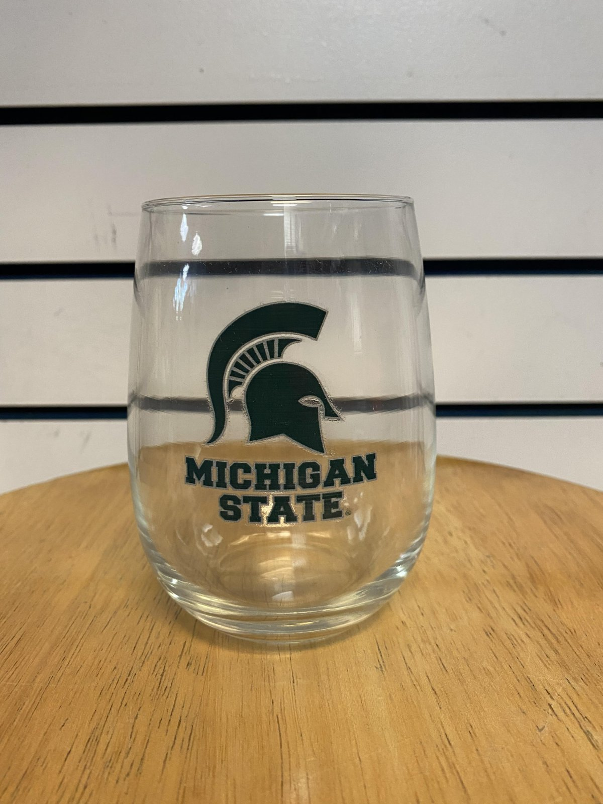 MSU Spartans Stemless Wine Glass