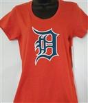 47 Brand Detroit Tigers Women's Orange Primary Logo Club Tee