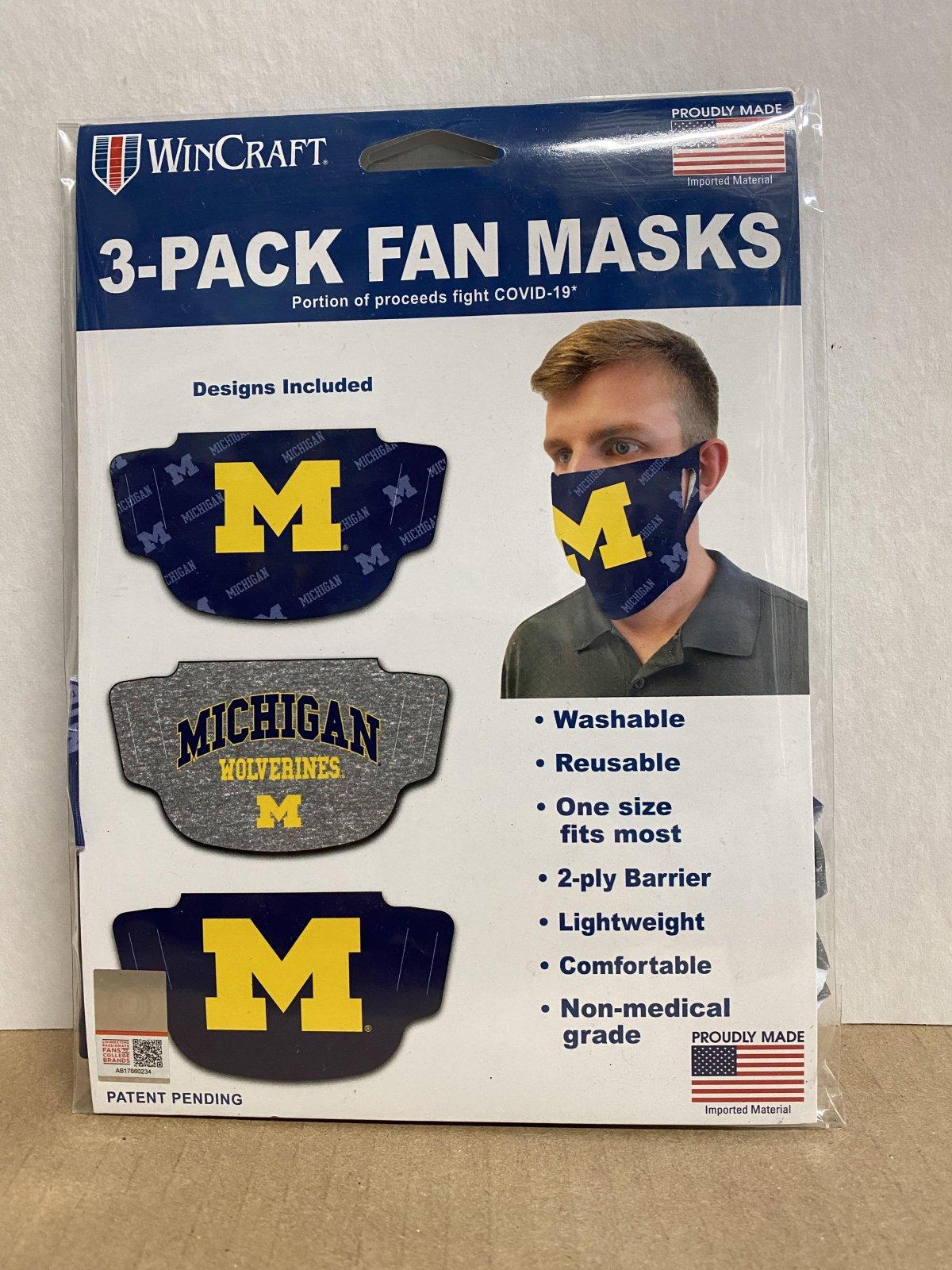 U of M Wolverines Face Mask 3 Pack Set