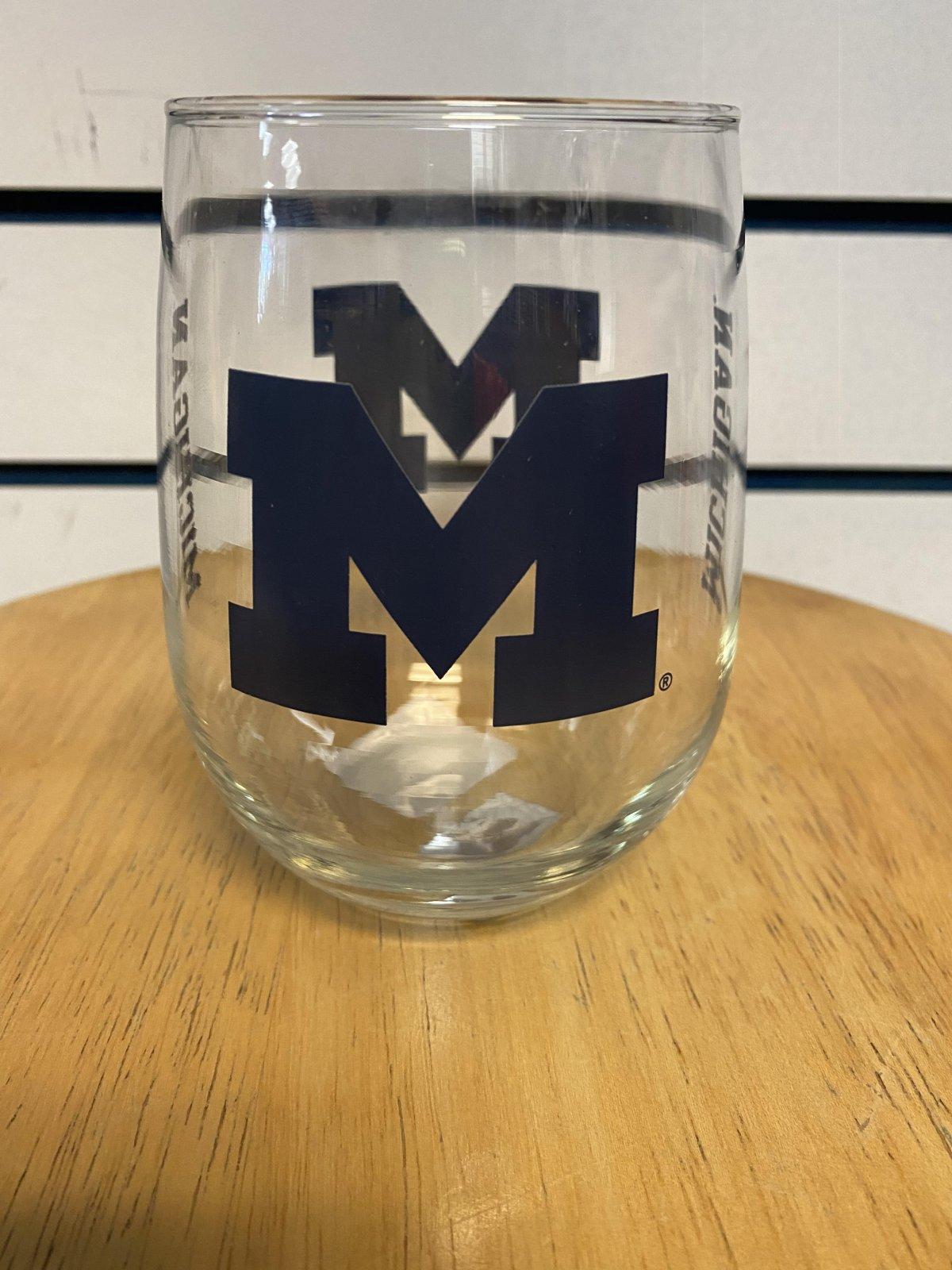 U of M Wolverines Stemless Wine Glass