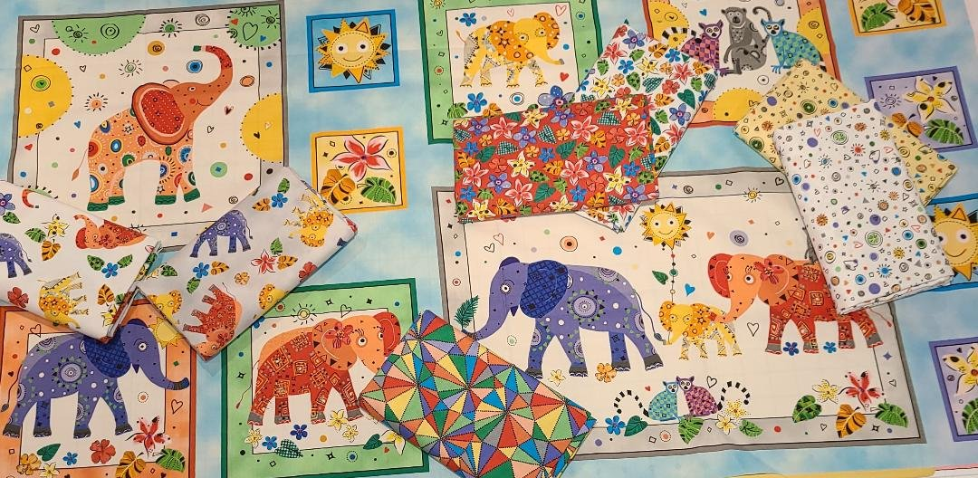 Playful Elephant 1/2 yard Panel Bundle