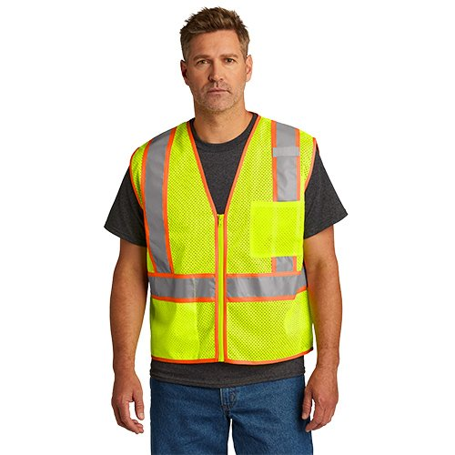 CSV103  CornerStone® ANSI 107 Class 2 Mesh Zippered Two-Tone Vest
