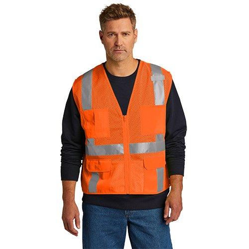 CSV104  CornerStone® ANSI 107 Class 2 Mesh Six-Pocket Zippered Vest