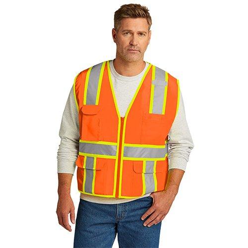 CSV105  CornerStone® ANSI 107 Class 2 Surveyor Zippered Two-Tone Vest