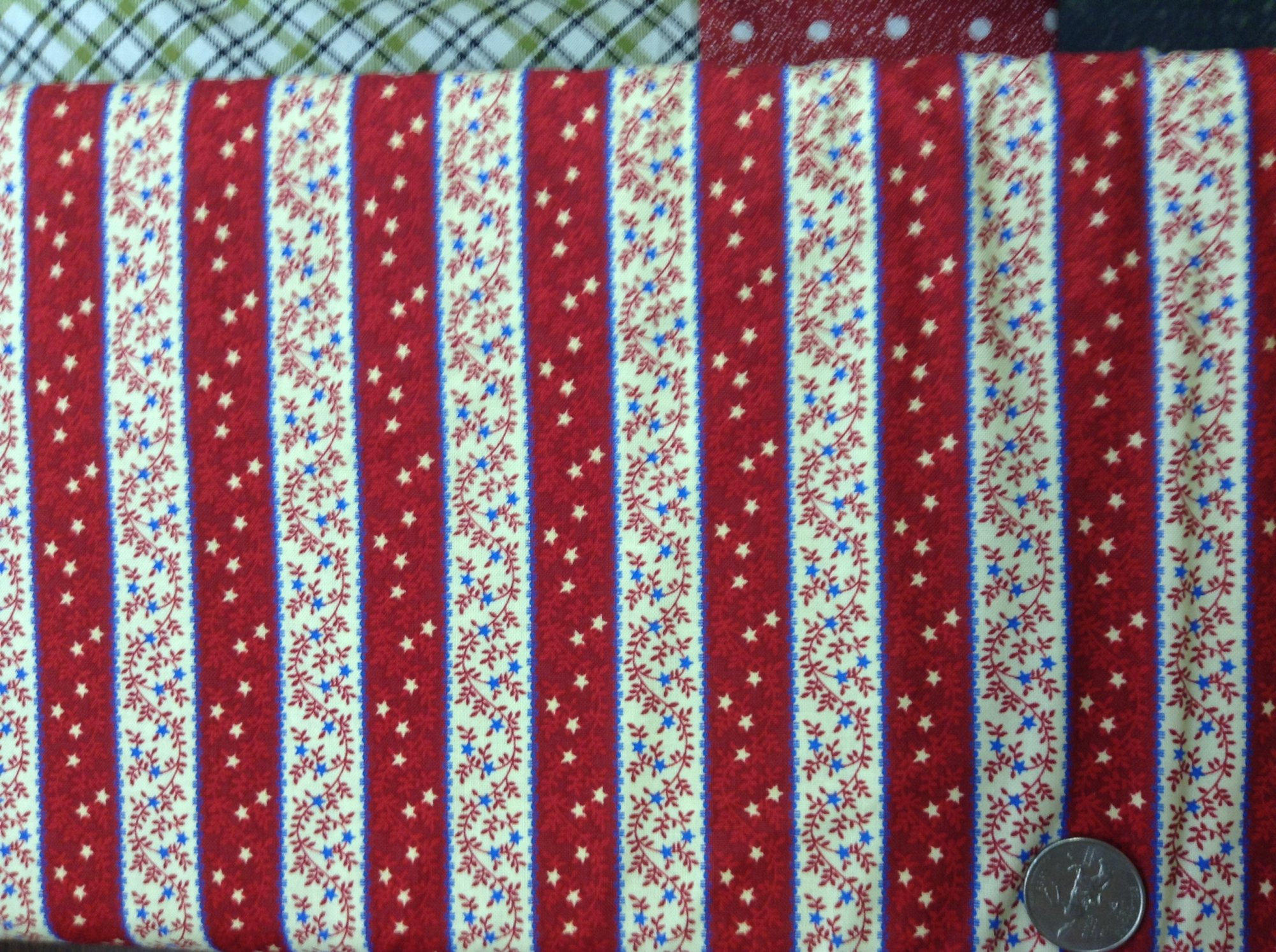 Binding  red, cream and blue