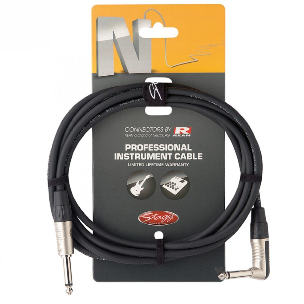 Stagg NGC3PLR Instrument Cable 10' Right Angle