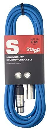Stagg SMC6CBL XLR to XLR Microphone Cable 20 ft Blue