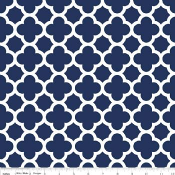 Riley Blake Quatrefoil Medium Navy